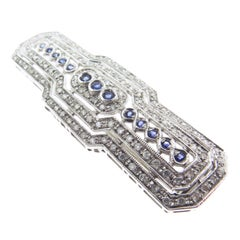 Art Deco Sapphire and Diamond White Gold Brooch