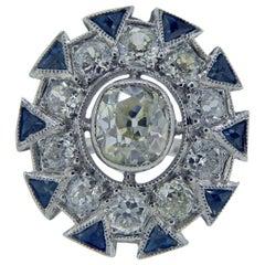Art Deco Sapphire and Old European Cut Diamond Cocktail Ring, Platinum