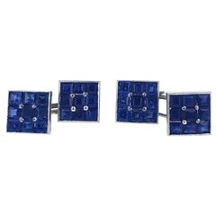 Art Deco Sapphire and Platinum Cufflinks