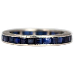 Art Deco Sapphire and Platinum Eternity Band