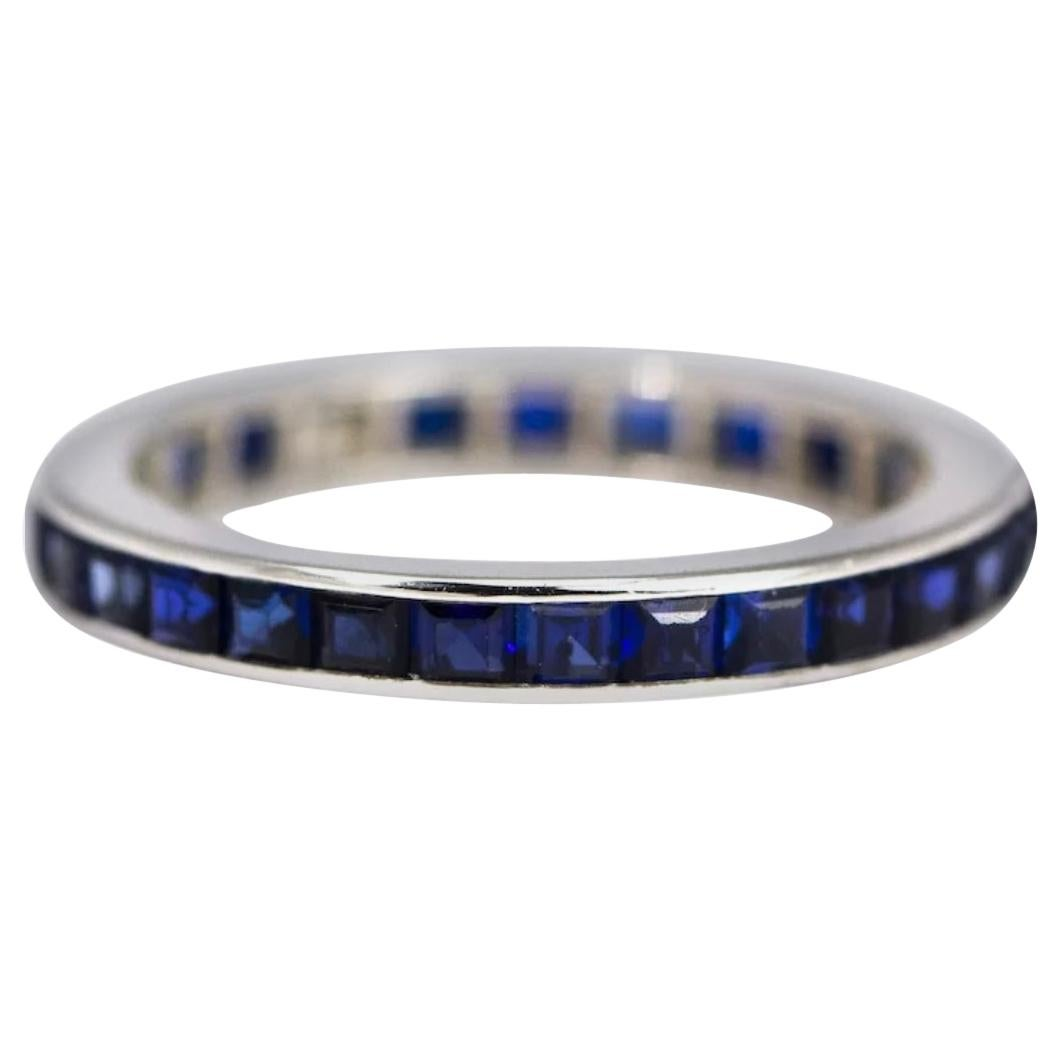 Art Deco Sapphire and Platinum Full Eternity Band