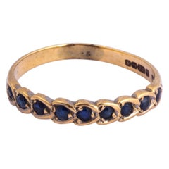 Art Deco Sapphire and Platinum Half Eternity Band