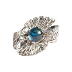 Art Deco Sapphire Cabochon Ring with Diamonds in Gold