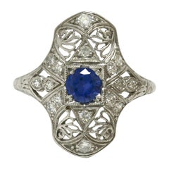 Art Deco Sapphire Cocktail Engagement Ring Filigree Antique Edwardian Navette