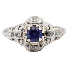 Art Deco Sapphire Diamond 18 Karat White Gold Ring