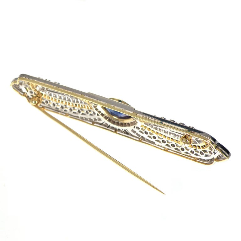 Marquise Cut Art Deco Sapphire Diamond 18 Karat Yellow White Gold Brooch For Sale
