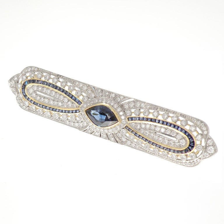 Women's or Men's Art Deco Sapphire Diamond 18 Karat Yellow White Gold Brooch For Sale