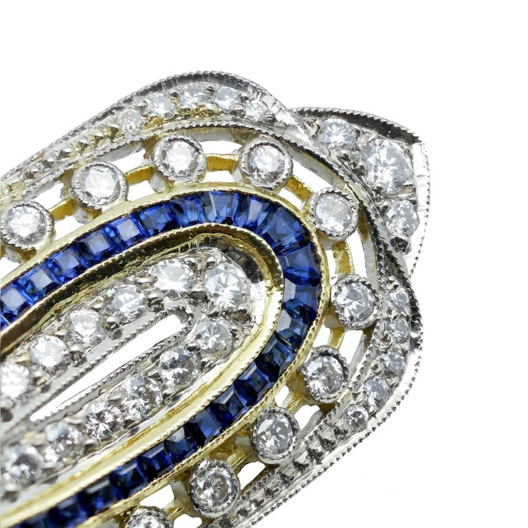 Art Deco Sapphire Diamond 18 Karat Yellow White Gold Brooch For Sale 1