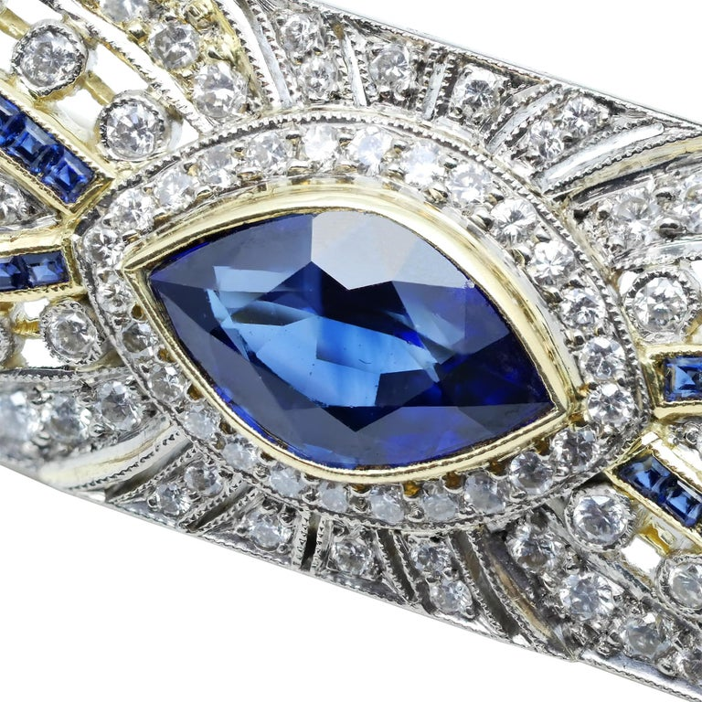 Art Deco Sapphire Diamond 18 Karat Yellow White Gold Brooch For Sale 2