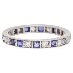 Art Deco Sapphire Diamond Alternating Eternity Ring