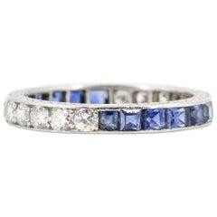Art Deco Sapphire, Diamond and Platinum Large Band