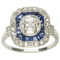 Art Deco Sapphire, Diamond and Platinum Ring, 1.30 Carat