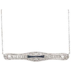 Art Deco Sapphire and Diamond Bar Necklace