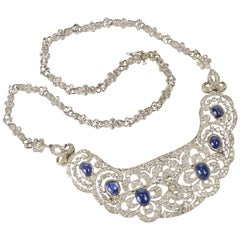 Art Deco Sapphire Diamond Bib Necklace