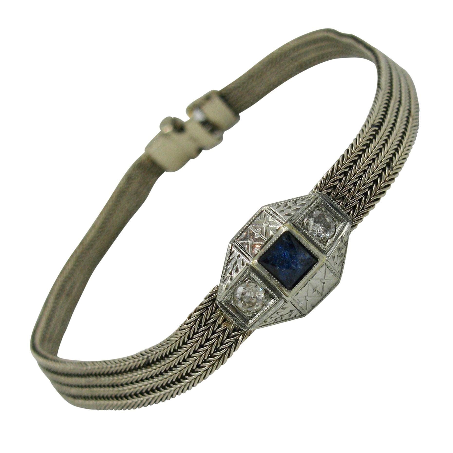 Art Deco Sapphire Diamond Bracelet 14 Karat White Gold Mesh Edwardian