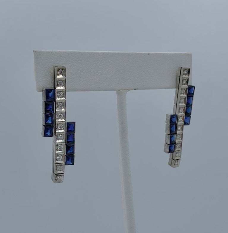 Women's Art Deco Sapphire Diamond Dangle Drop Earrings Articulated 14 Karat White Gold For Sale