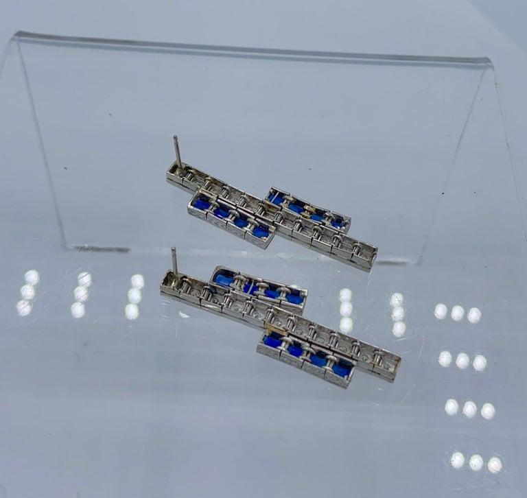 Art Deco Sapphire Diamond Dangle Drop Earrings Articulated 14 Karat White Gold For Sale 3