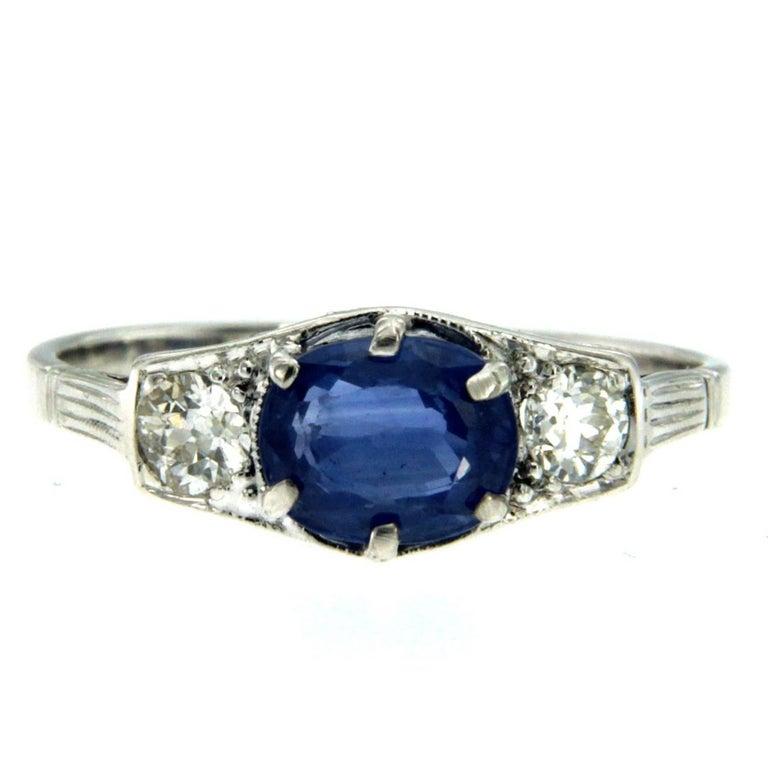 Art Deco Sapphire Diamond Engagement Gold Ring