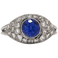 Art Deco Style 1 Carat Blue Sapphire Diamond Engagement Ring Dome Blue Gemstone
