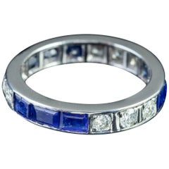 Art Deco Sapphire Diamond Full Eternity Ring Platinum, circa 1920