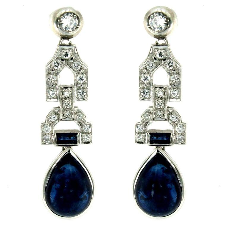 Art Deco Sapphire Diamond Gold Drop Earrings, 1930s