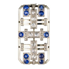 Art Deco Sapphire Diamond Gold Platinum Brooch
