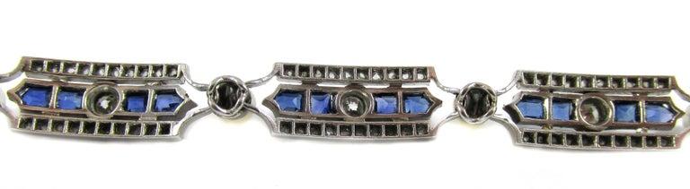 Women's or Men's Art Deco Sapphire Diamond Pearl Platinum French Bracelet For Sale