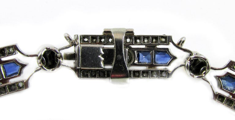Art Deco Sapphire Diamond Pearl Platinum French Bracelet For Sale 1