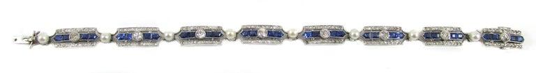 Art Deco Sapphire Diamond Pearl Platinum French Bracelet For Sale 2