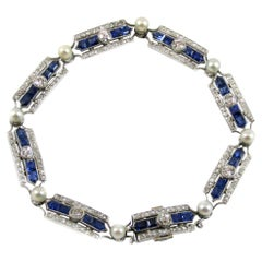 Art Deco Sapphire Diamond Pearl Platinum French Bracelet
