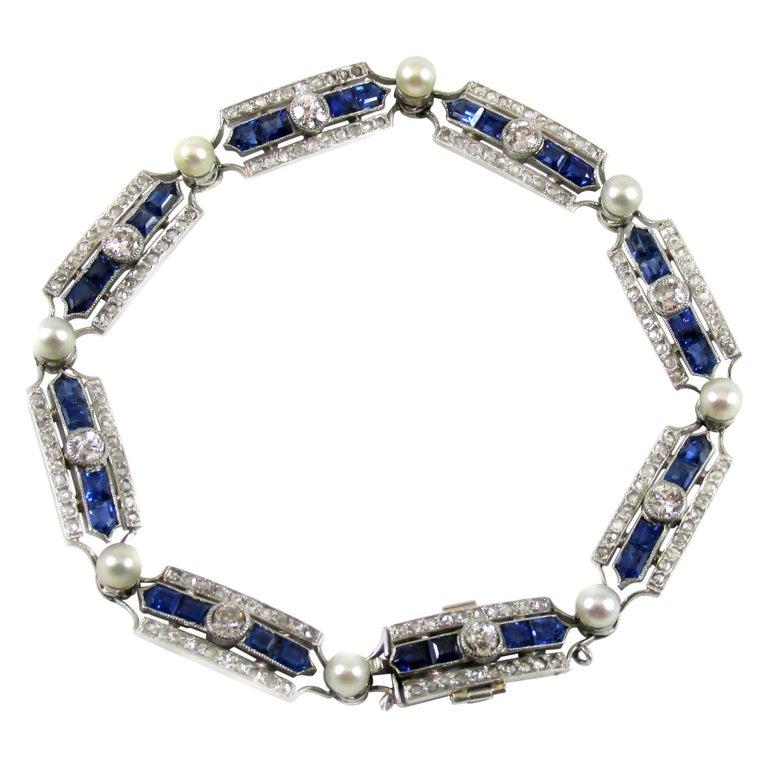 Art Deco Sapphire Diamond Pearl Platinum French Bracelet For Sale