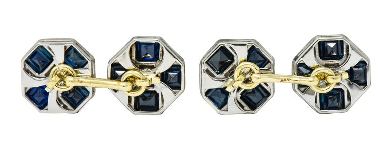 Art Deco Sapphire Diamond Platinum 14 Karat Gold Men's Octagonal Cufflinks For Sale 1