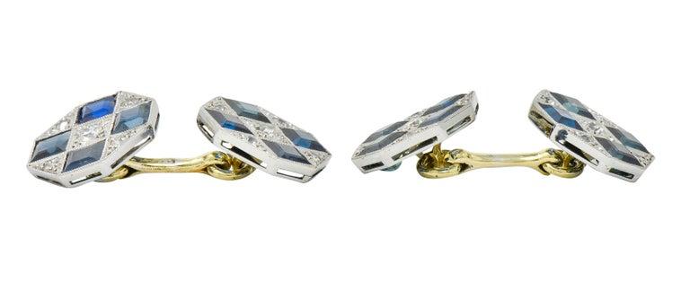 Art Deco Sapphire Diamond Platinum 14 Karat Gold Men's Octagonal Cufflinks For Sale 2