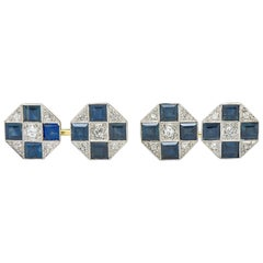 Art Deco Sapphire Diamond Platinum 14 Karat Gold Men's Octagonal Cufflinks