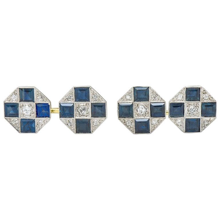 Art Deco Sapphire Diamond Platinum 14 Karat Gold Men's Octagonal Cufflinks For Sale