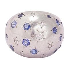 Art Deco Sapphire Diamond Platinum Bombé Ring