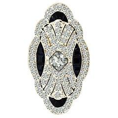 Art Deco Sapphire Diamond Platinum Brooch and Pendant