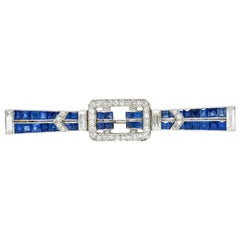 Art Deco Sapphire Diamond Platinum Buckle Bar Brooch