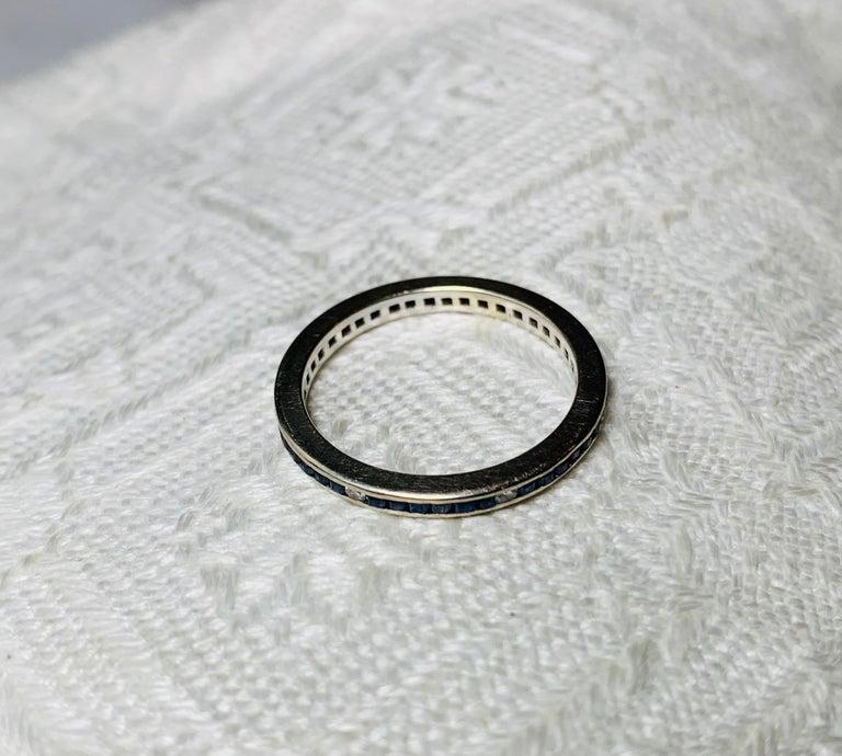 Art Deco Style Sapphire Diamond Platinum Eternity Band Ring Engagement For Sale 5