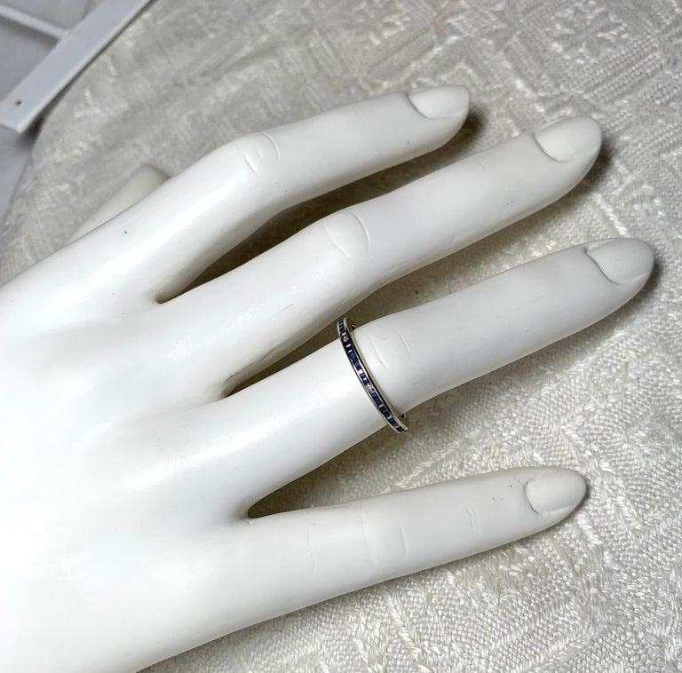 Emerald Cut Art Deco Style Sapphire Diamond Platinum Eternity Band Ring Engagement For Sale