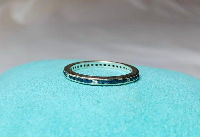 Women's Art Deco Style Sapphire Diamond Platinum Eternity Band Ring Engagement For Sale