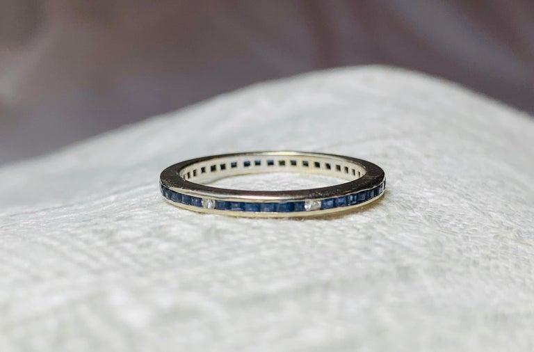 Art Deco Style Sapphire Diamond Platinum Eternity Band Ring Engagement For Sale 1