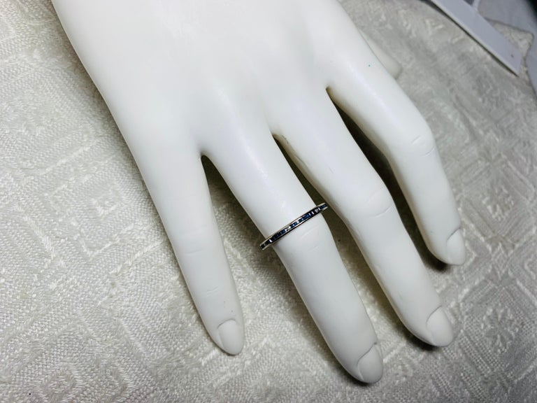 Art Deco Style Sapphire Diamond Platinum Eternity Band Ring Engagement For Sale 2