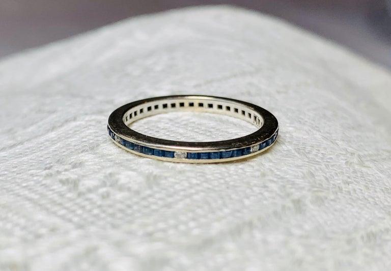 Art Deco Style Sapphire Diamond Platinum Eternity Band Ring Engagement For Sale 4