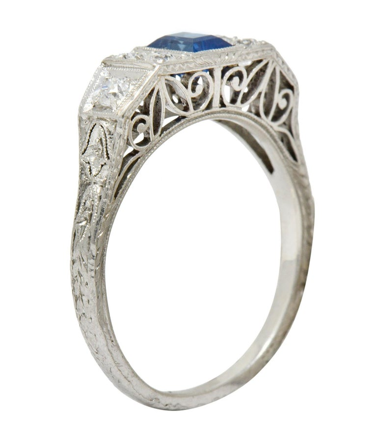 Art Deco Sapphire Diamond Platinum Filigree Band Ring For Sale 5