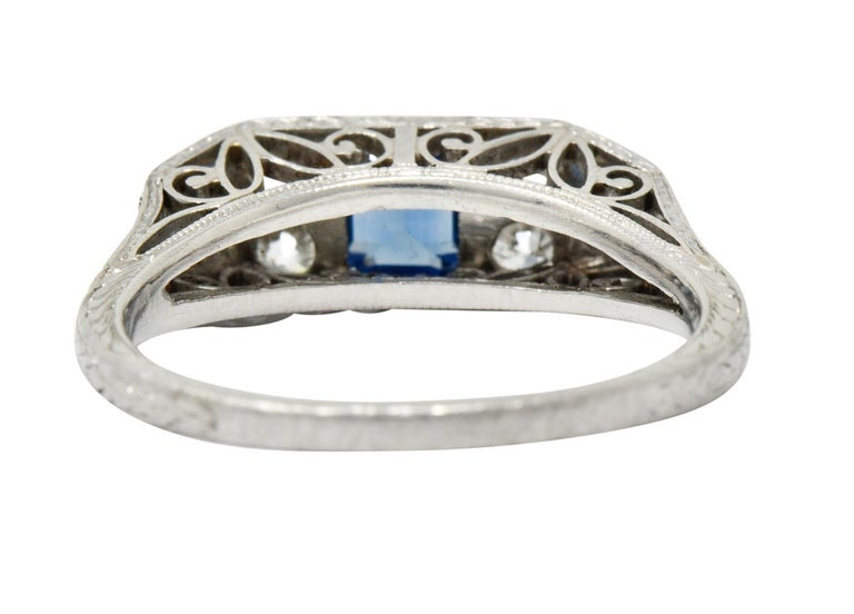 Art Deco Sapphire Diamond Platinum Filigree Band Ring In Excellent Condition For Sale In Philadelphia, PA