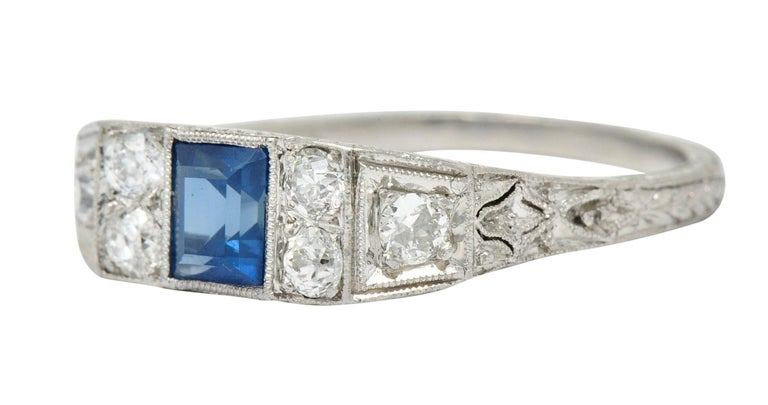 Art Deco Sapphire Diamond Platinum Filigree Band Ring For Sale 1