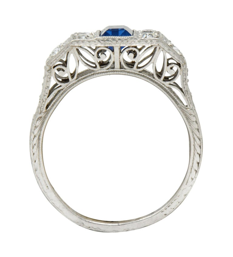 Art Deco Sapphire Diamond Platinum Filigree Band Ring For Sale 2