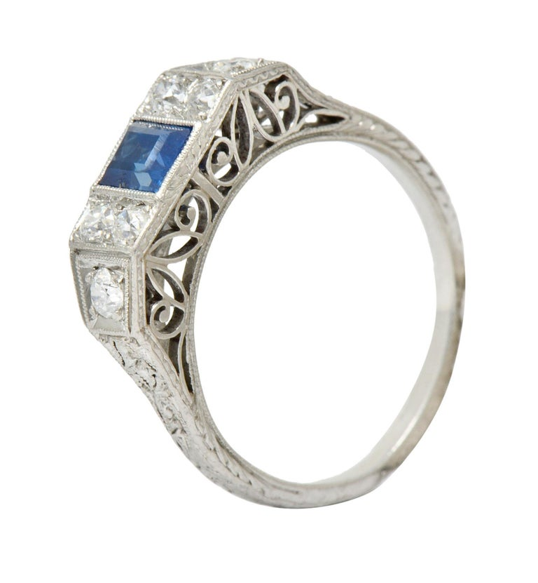 Art Deco Sapphire Diamond Platinum Filigree Band Ring For Sale 3