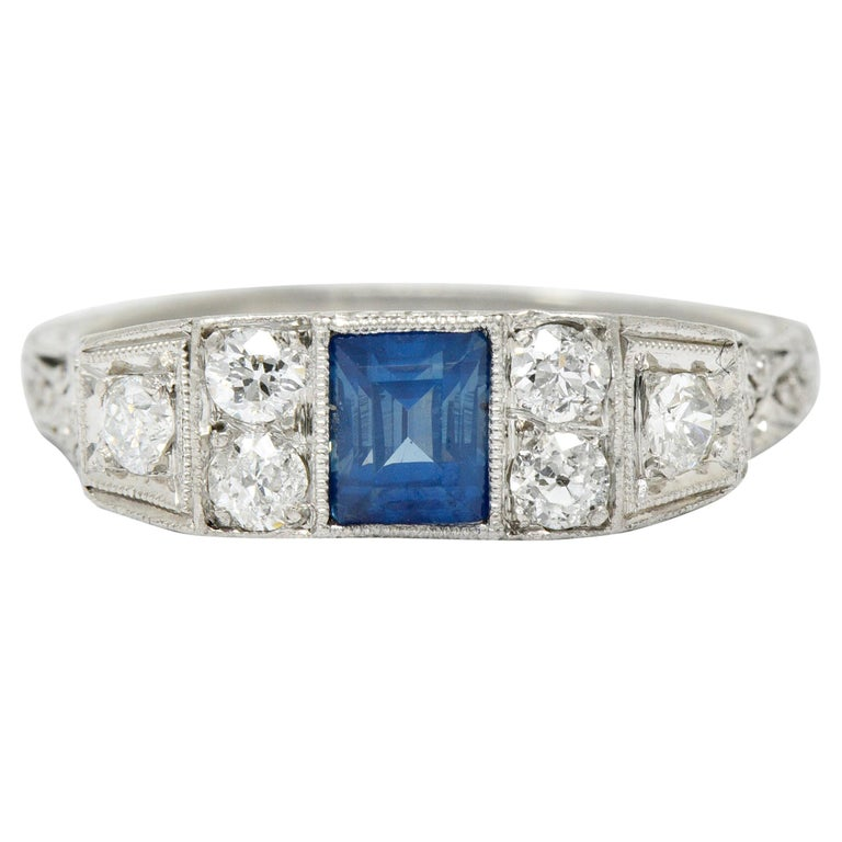 Art Deco Sapphire Diamond Platinum Filigree Band Ring For Sale